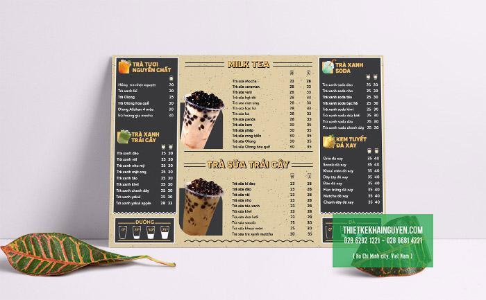 Thiết kế menu cho quán trà sữa với phong cách hiện đại