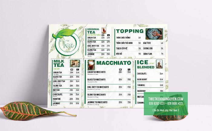 Thiết kế menu trà sữa - menu milk hiện đại