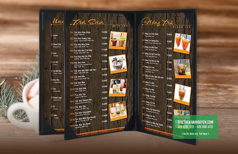 Mẫu thiết kế menu phong cách giả gỗ