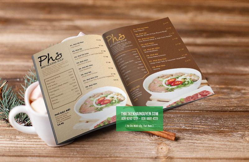 Mẫu thiết kế menu Phở Thiên
