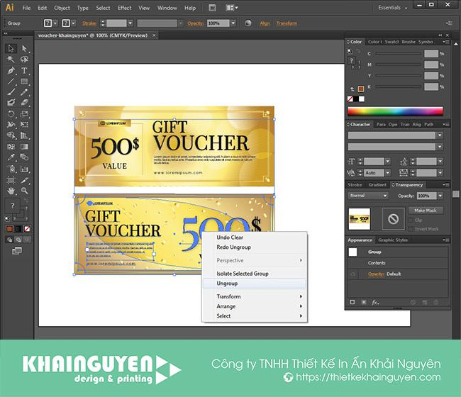 Ungroup - tự thiết kế voucher