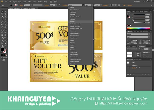 Thay đổi font chữ - tự thiết kế voucher
