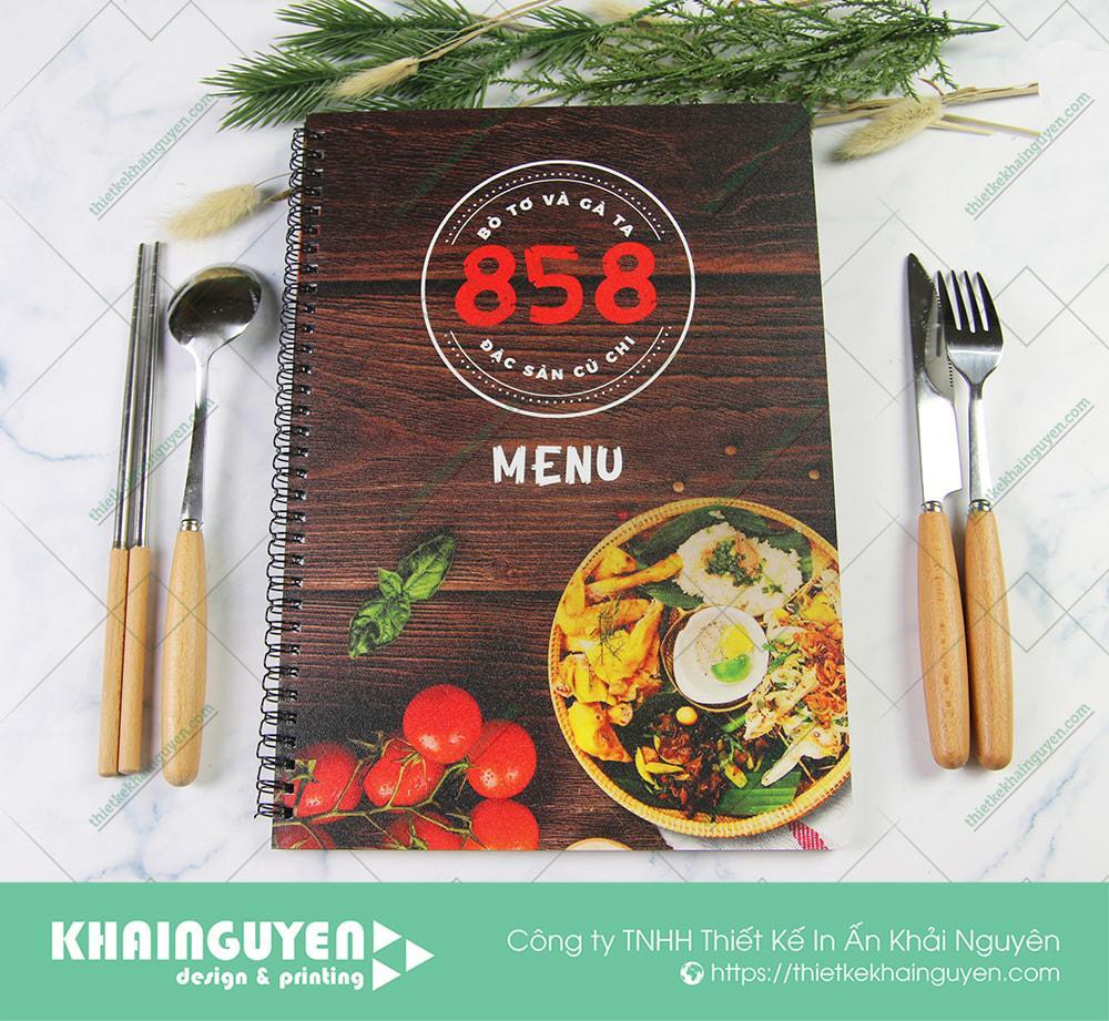 Bò tơ 858 - In menu nhựa đóng gáy lò xo