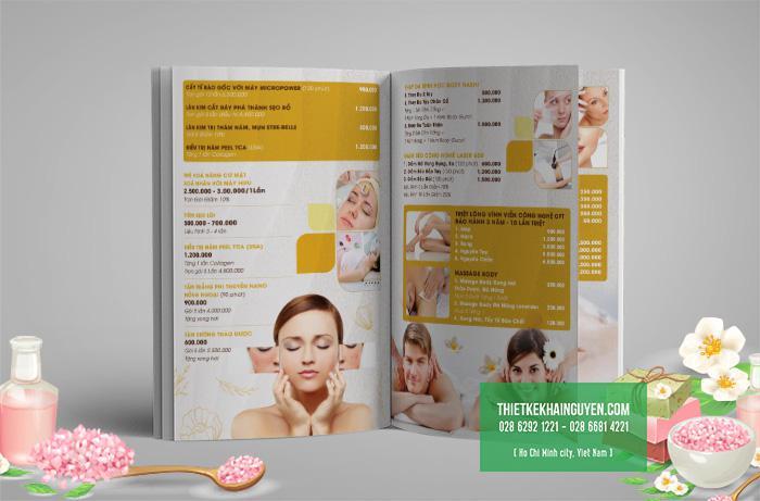 Thiết kế menu cho spa rất đẹp của Emi Spa tại Việt Nam