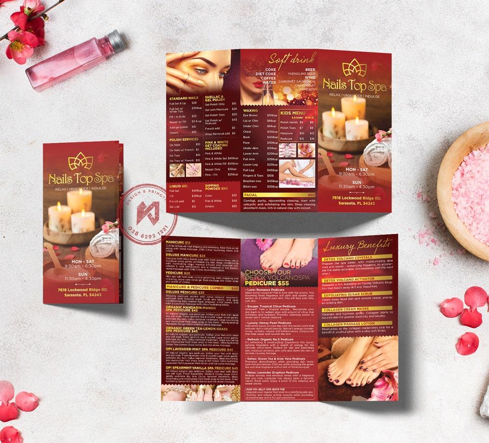 In menu nails spa đẹp với sắc đỏ lộng lẫy