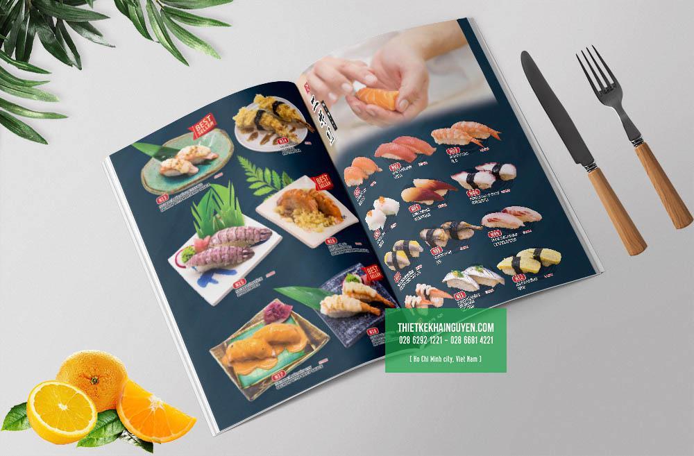 Phần sushi trong menu nhà hàng Nhật