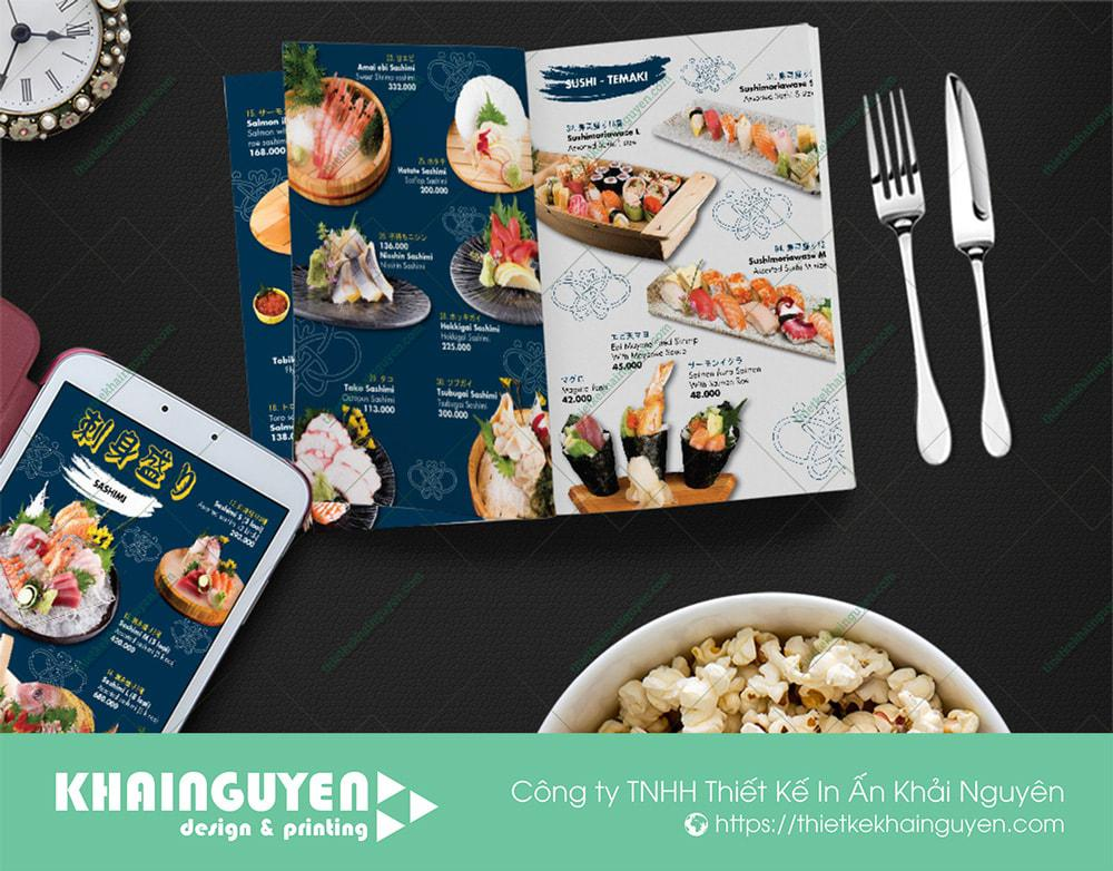 Kích thước A3 rất phù hợp làm menu nhà hàng Nhật GoHan