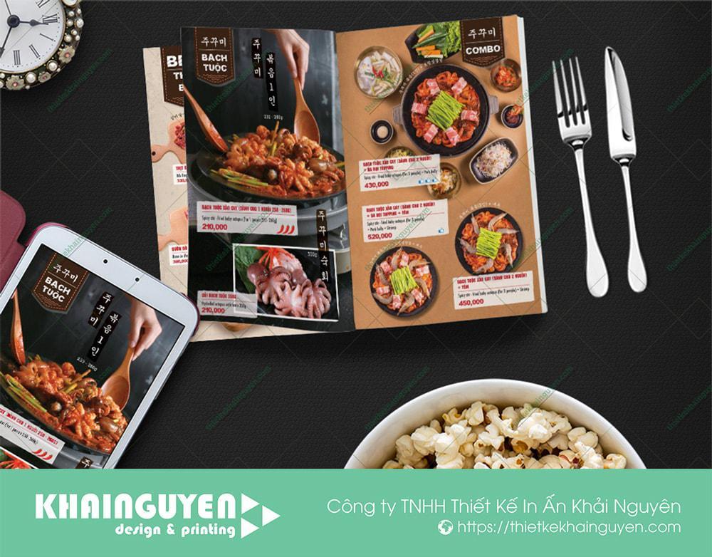 Menu Octospice Korean Grill với phong cách menu Hàn ấn tượng