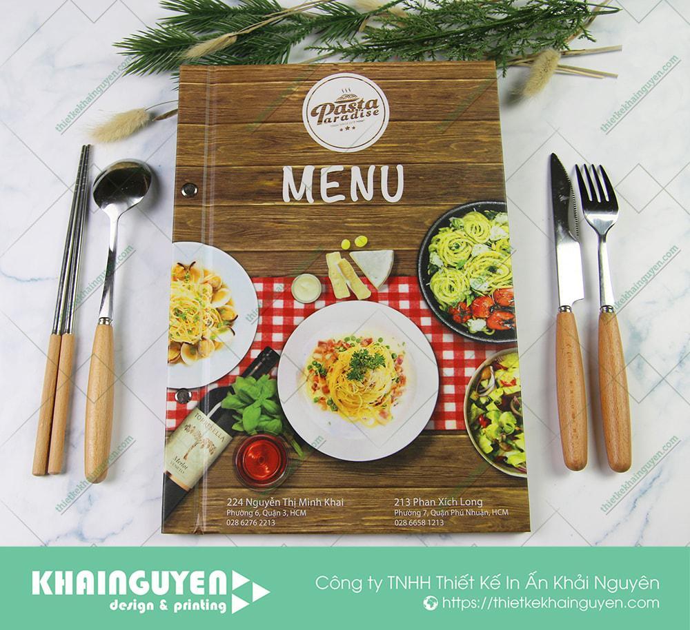 Bìa menu Nhà hàng Pasta Paradise