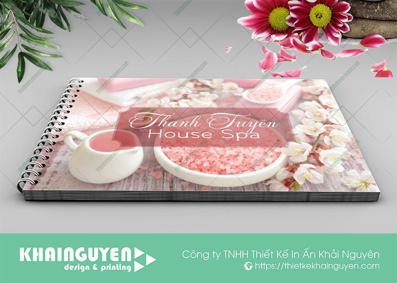 Menu Thanh Tuyền Spa được in ấn bằng chất liệu nhựa