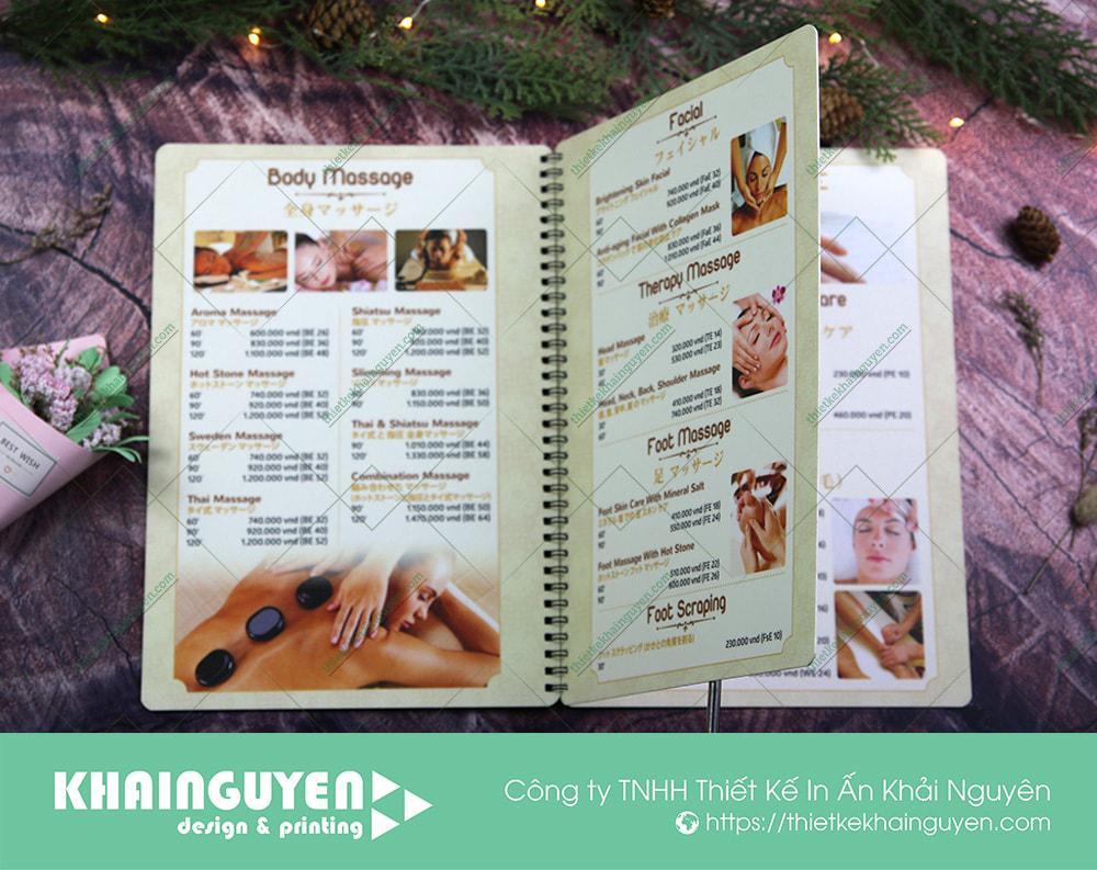 In menu Spa với chất liệu nhựa PVC dày 1mm