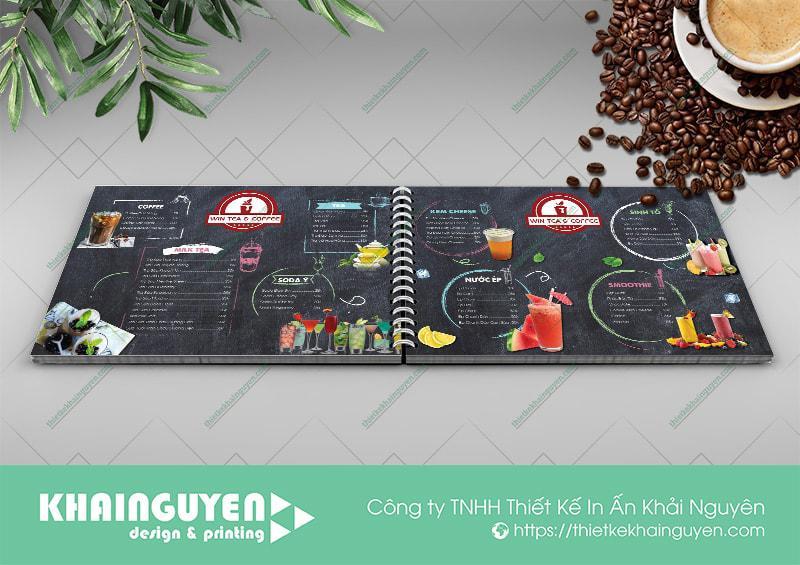 Thực đơn nhựa Win Coffee với thiết kế ấn tượng