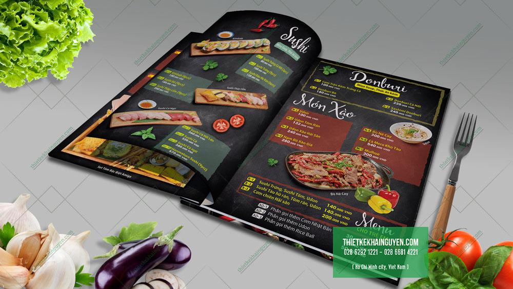 Thiết kế menu nhà hàng Amiga - món Nhật