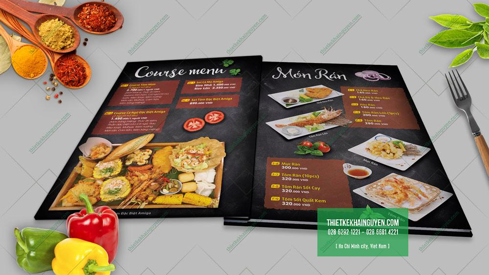 Bìa menu được in ấn cứng cáp hơn để bảo vệ phần ruột bên trong