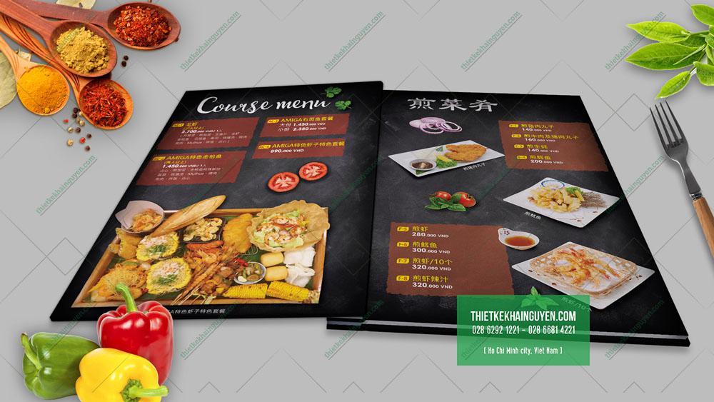 Menu nhà hàng bảng tiếng Trung