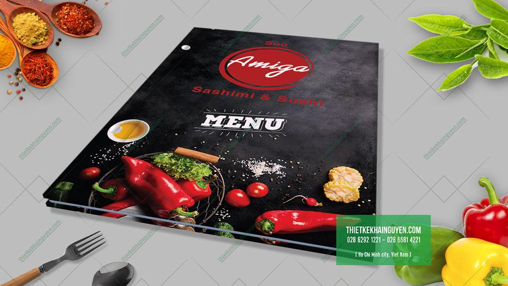 Bìa Menu Amiga - menu bồi carton đóng gáy ốc