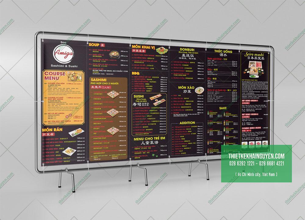 Menu dán tường, menu treo tường khổ lớn tại các nhà hàng