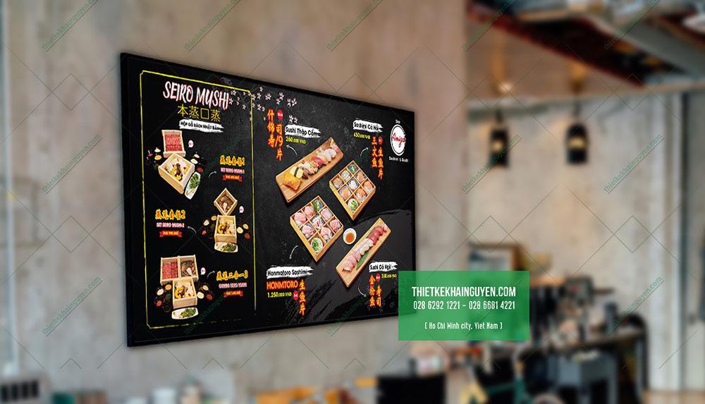 Một thiết kế menu dán tường giới thiệu món mới tại Nhà hàng