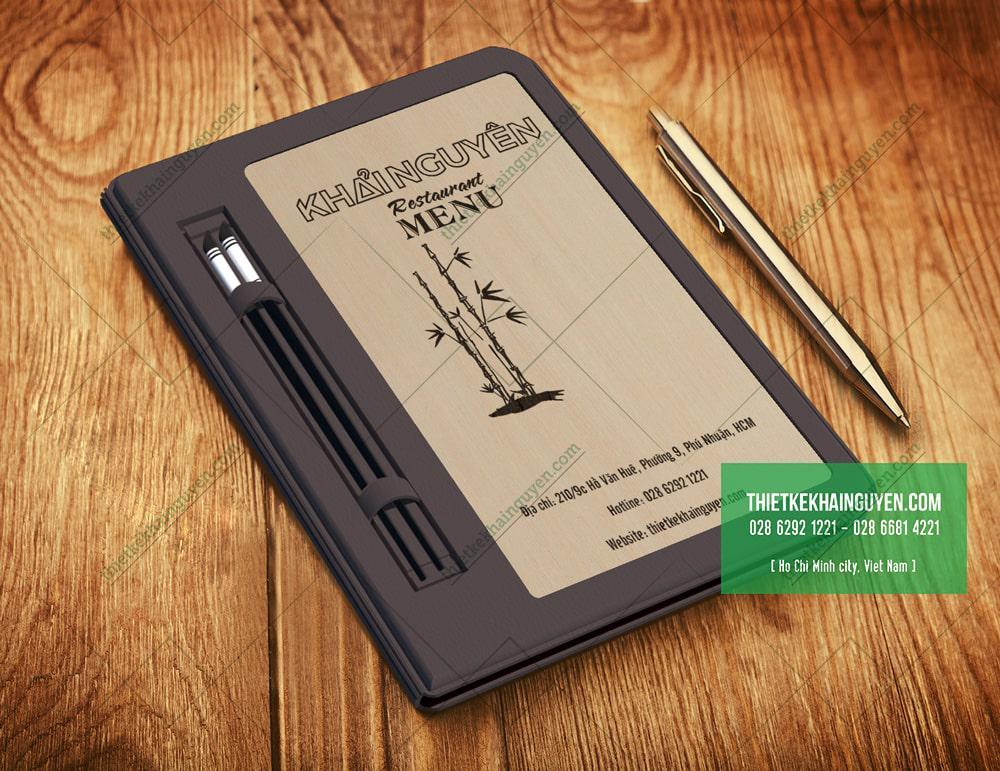 3107 - menu gỗ viền da xám