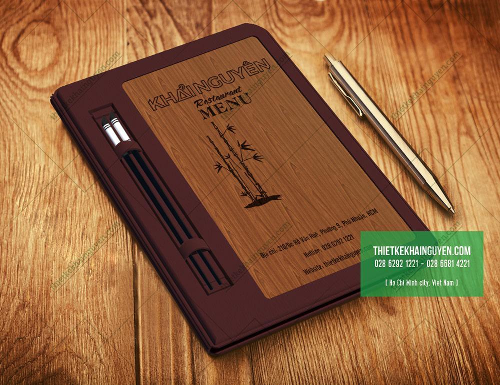 Mã gỗ 369 - thực đơn gỗ viền da cao cấp
