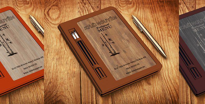 Mẫu gỗ làm menu bìa gỗ cao cấp