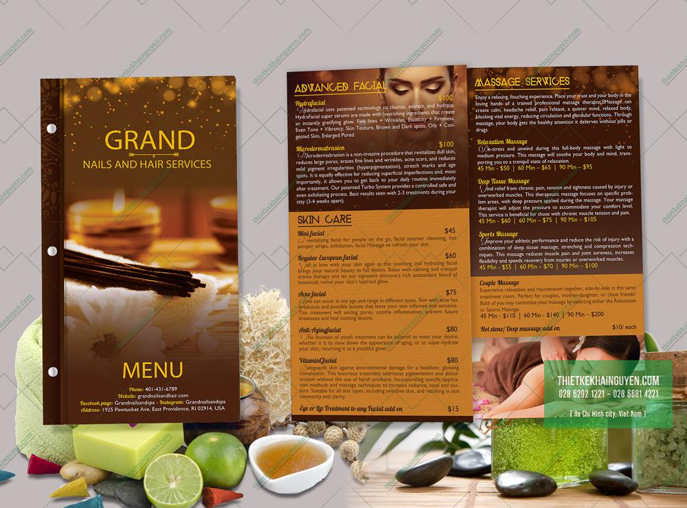 Mẫu menu  Nail đẹp từ thương hiệu - Grand Nail & Hair