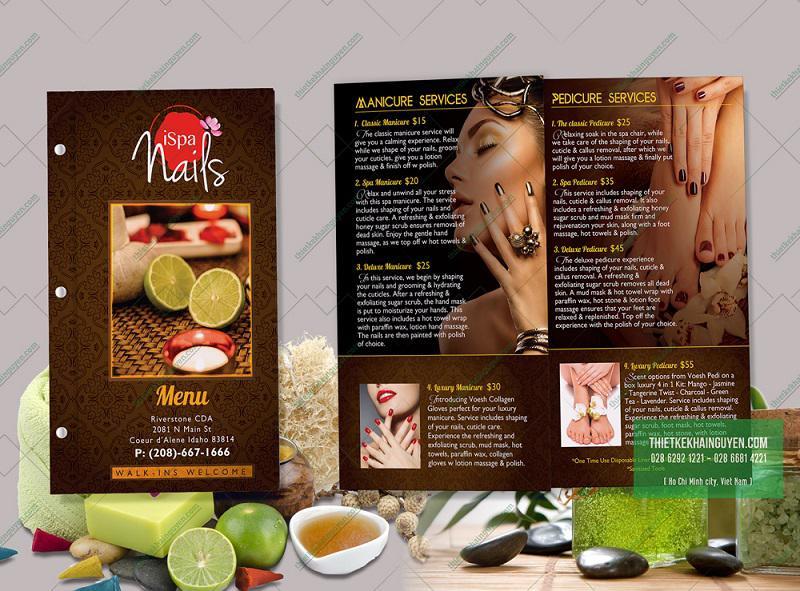 Thiết kế menu I NAILS SPA tại Mỹ