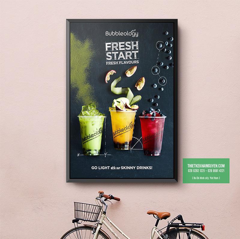 Mẫu poster 60x90cm cho quán nước, cafe, trà sữa