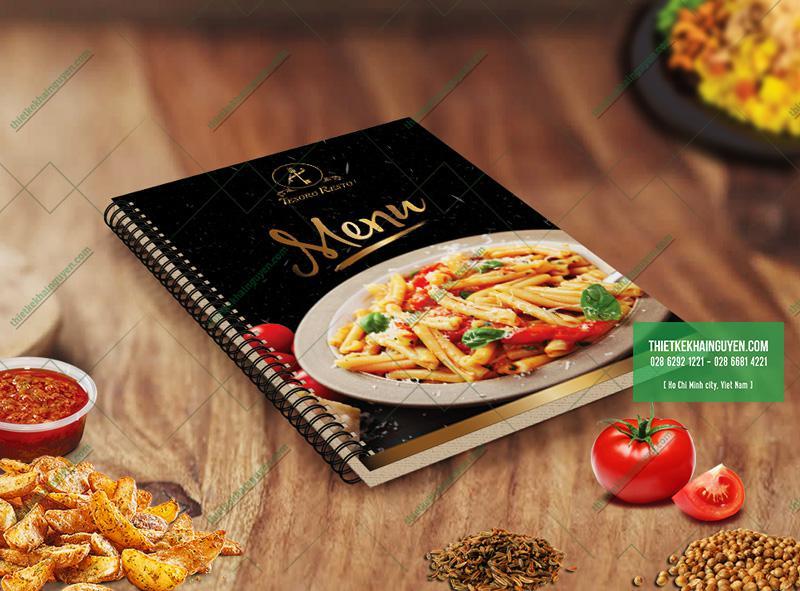 Bìa menu nhà hàng Tesoro - menu gáy lò xo