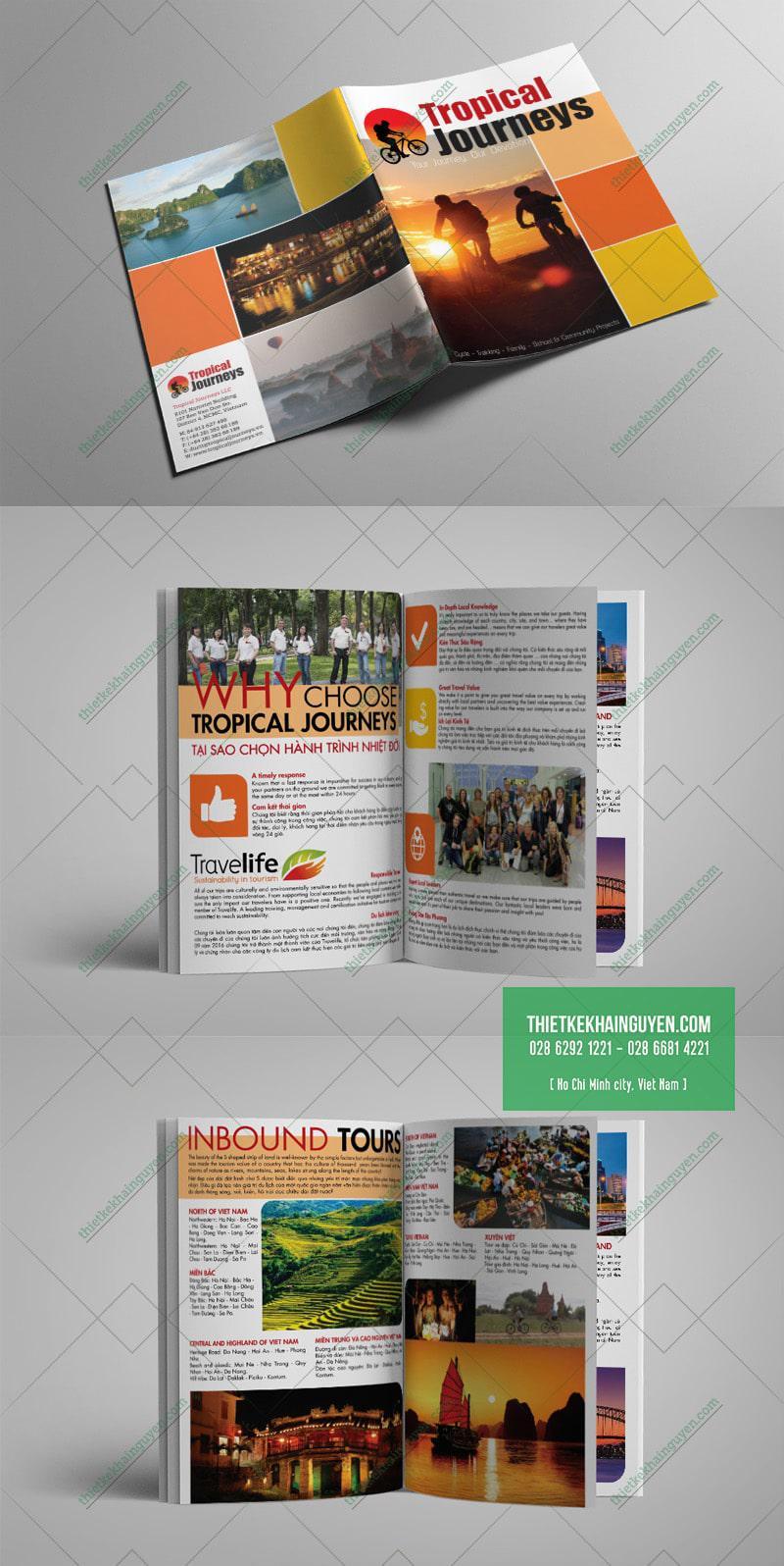 Thiết kế brochure dạng cuốn cho công ty du lịch - TropicalJouneys