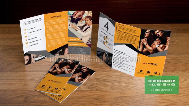 NileWatchs - Thiết kế brochure gấp 3 cho cửa hàng đồng hồ