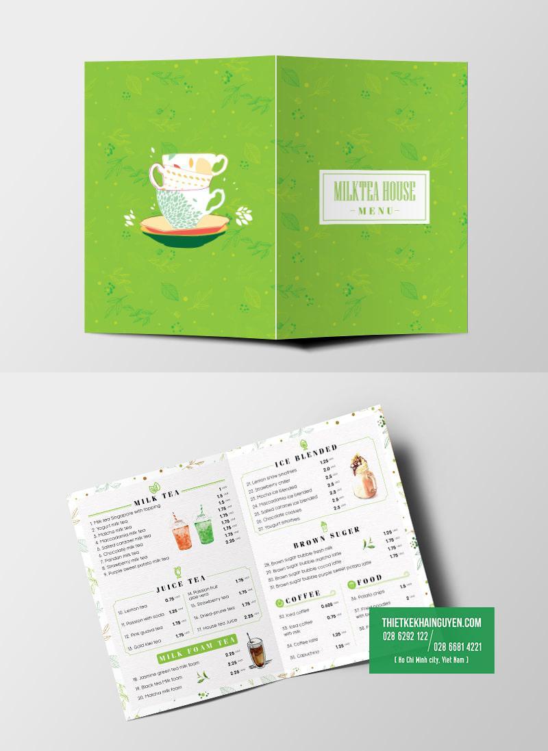 Brochure menu dạng A3 gấp đôi thành A4