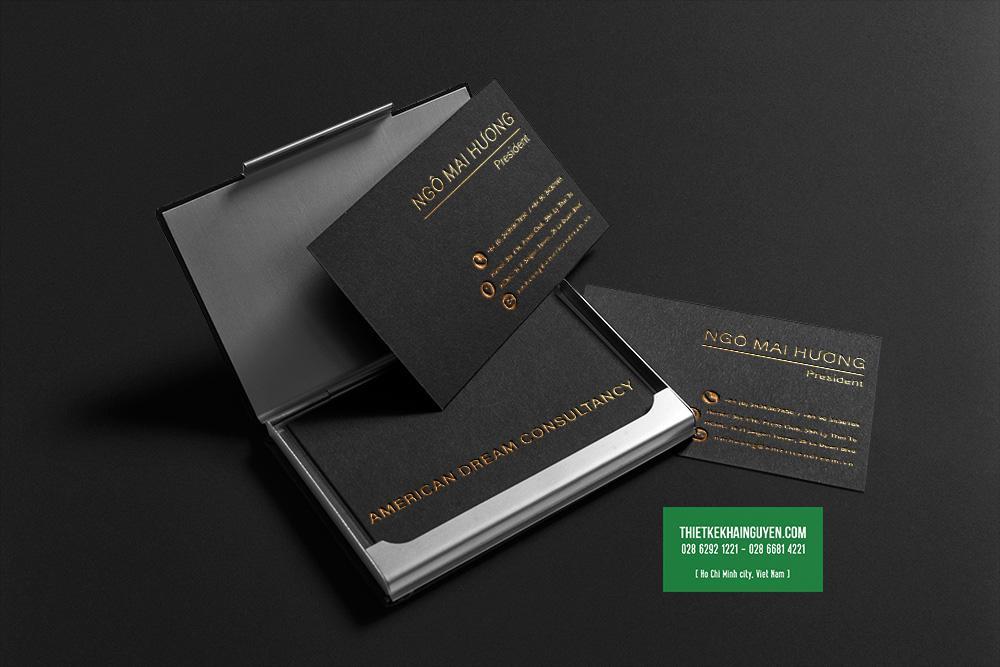 Mẫu namecard ép kim vàng đơn giản cho doanh nghiệp