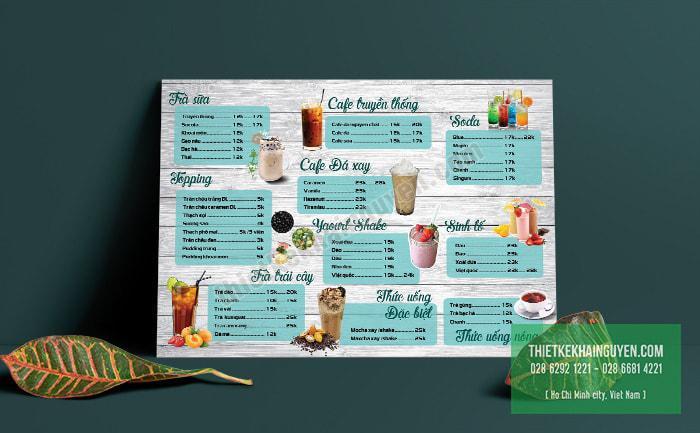 Thiết kế menu bảng A3 cho quán cafe take away