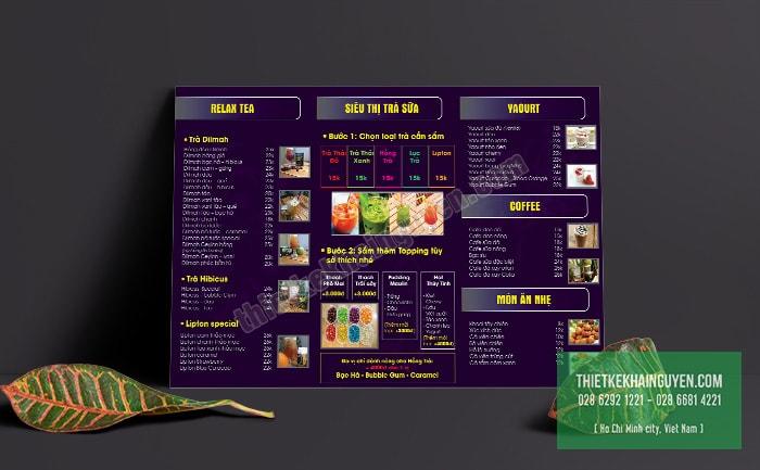 Mẫu menu bảng A3 với thiết kế màu tím ấn tượng
