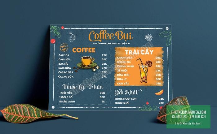 Coffee Bụi - Mẫu thiết kế menu cafe đơn giản