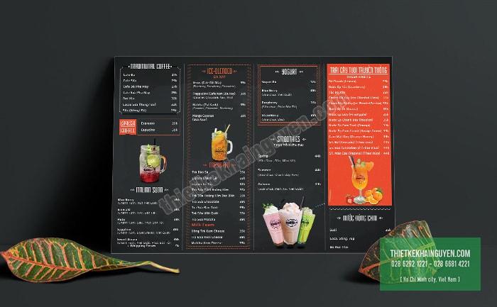 Menu bảng A3 - menu tại quầy tiện lợi