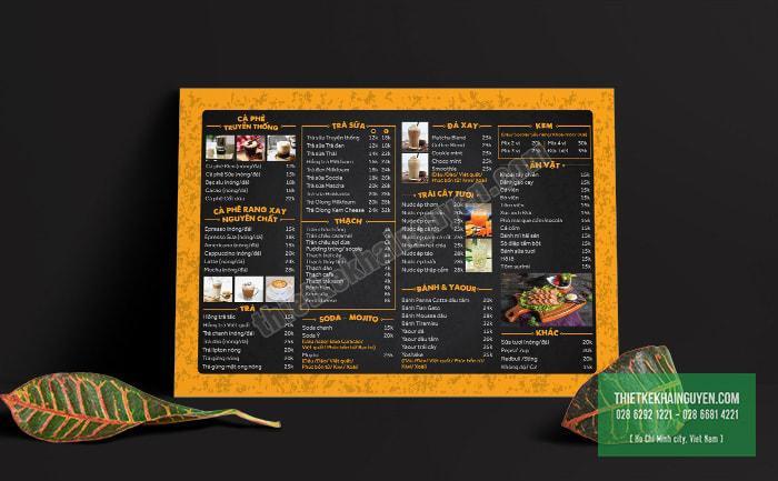 K3 Coffee - menu bảng A3 thiết kế với tone đen cam ấn tượng
