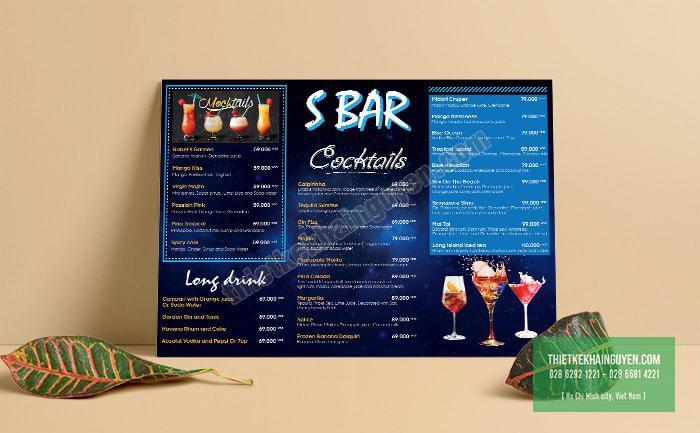 S Bar - menu được thiết kế với phong cách hiện đại