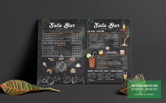 Menu Sala Bar được thiết kế với phong cách cổ điển
