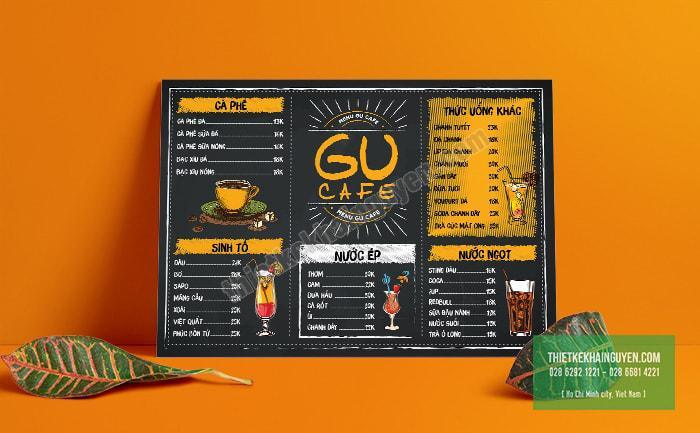 Gu-Cafe mẫu thiết kế menu cà phê rất thú vị