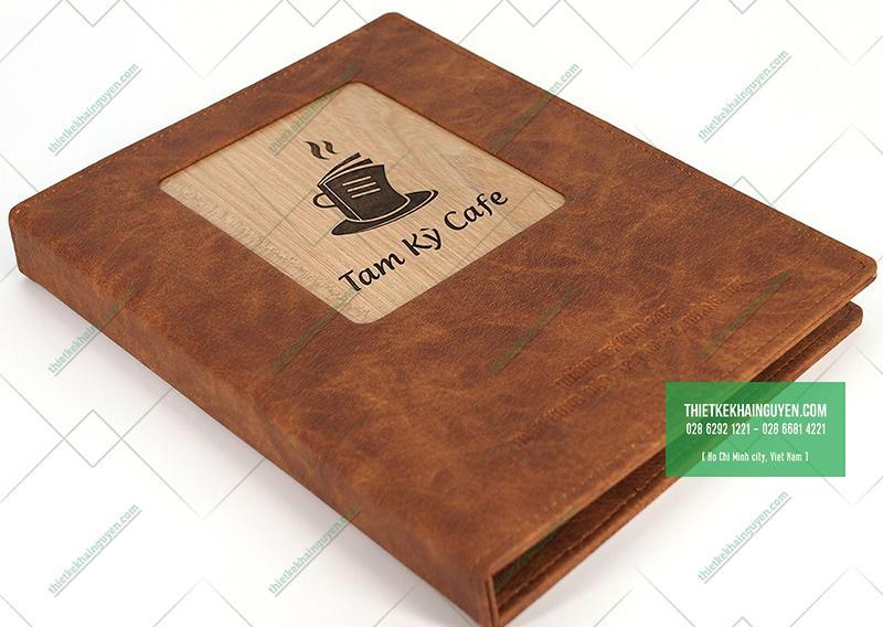 Bìa menu gỗ viền da đóng gáy còng