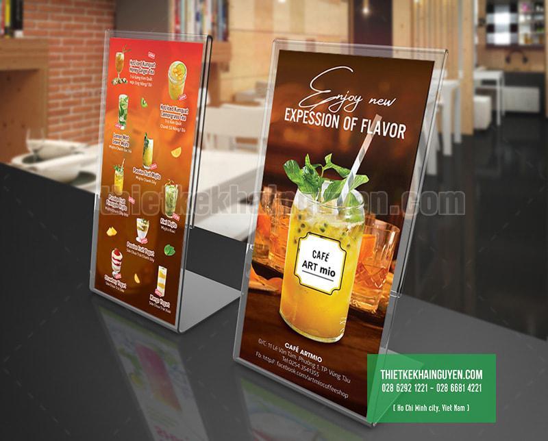 Thiết kế menu để bàn của quán cafe Art Mio tại Vũng Tàu