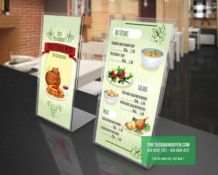 In menu giá rẻ cho quán ăn - menu mica chữ L