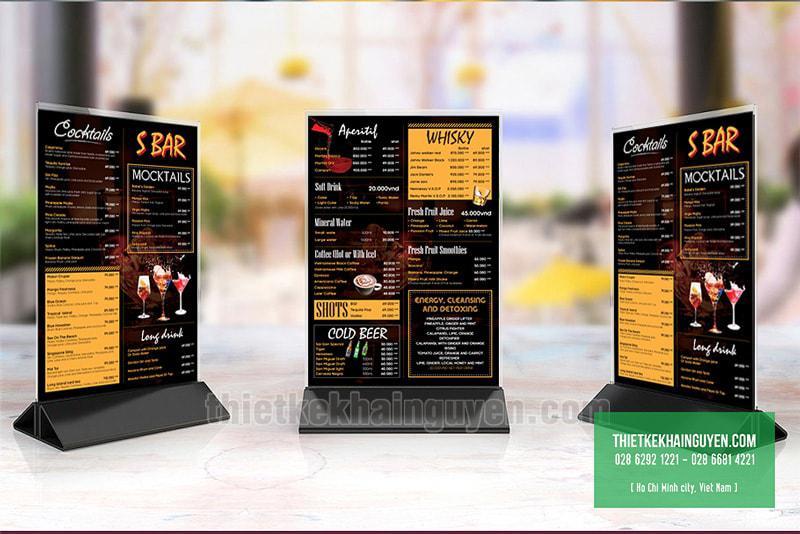 Thực đơn - menu để bàn cho BAR