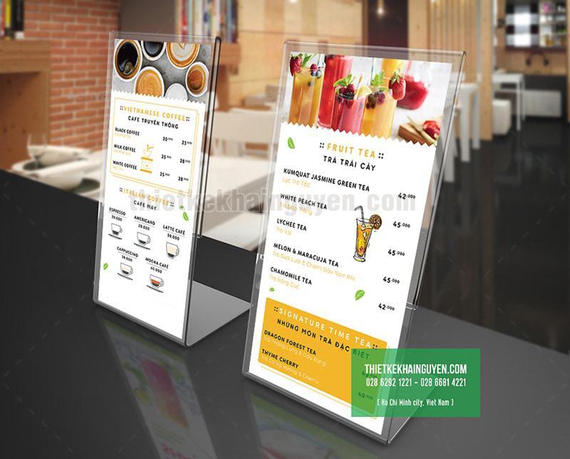 Mẫu in menu để bàn cho quán cafe