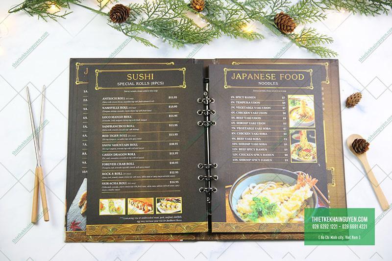 Phần ruột menu được đóng bằng còng đen thu hút