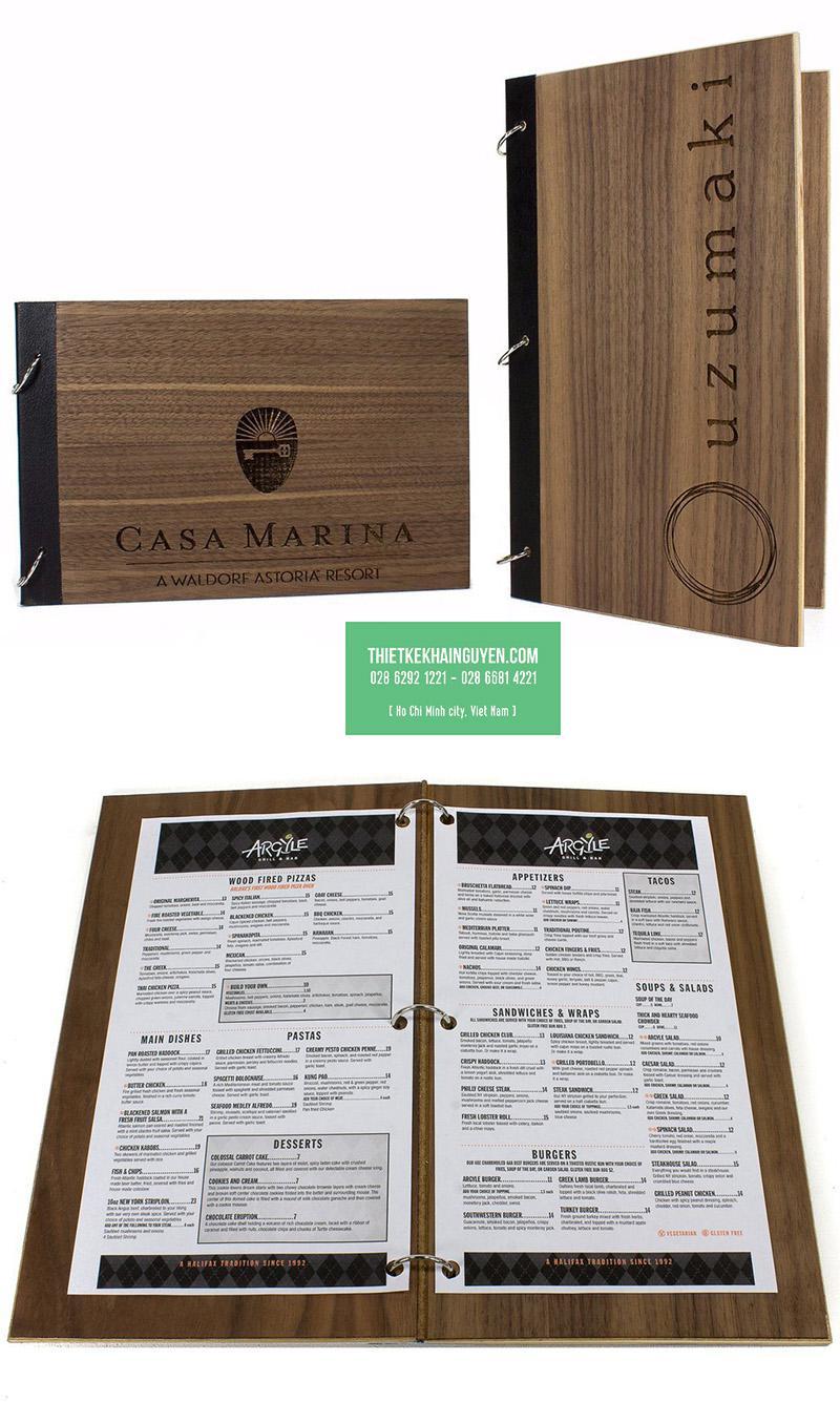 Mẫu menu bìa gỗ đóng khoen còng rời
