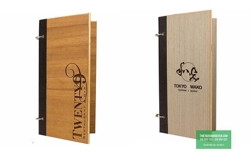 Mẫu làm menu bìa gỗ gáy còng
