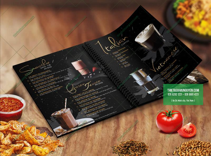 Thực đơn nước trong menu cho nhà hàng Âu